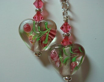 Heart Earrings Glass Bead with Swarovski Accent silver