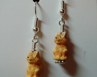 Small Hand Painted Golden Orange Yellow Striped Kitty Cat Ceramic earrings on Silver