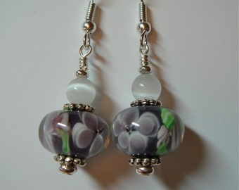 Pale Mauve Lilac  and White Floral Glass Earrings on Silver
