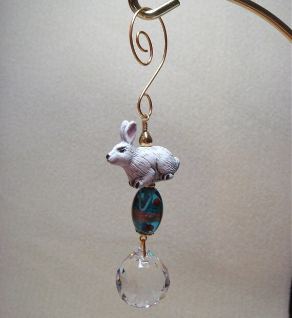 Porcelain Bunny Rabbit and Egg Easter Ornament with Crystal
