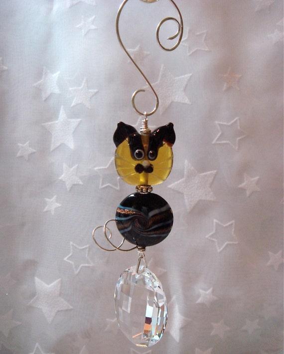 Glass Cat Face and Swarovski Matrix Suncatcher Topaz and Black