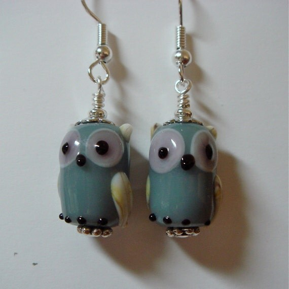 Grey Opaque Glass Owl Earrings  on Silver   Whooo Can be without these