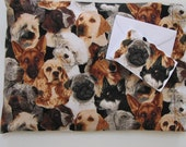 Dogs, Dogs and More Dogs Heat and Cold Therapy Pillow with Free Coordinating Notecard