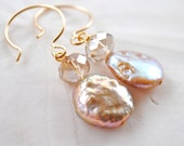 Blush - peachy nude. Fresh Water Pearl Earrings. Gold filled ear wires. Bridesmaid Earrings.