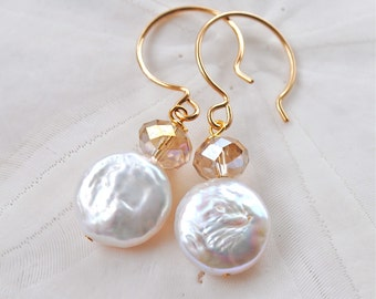 Oyster - white ivory. Fresh Water Pearl Earrings. Handmade Ear Wires. Bridesmaid Earrings.