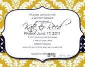 Wedding Engagement Dinner Invitation Mustard Damask Navy Custom printed by you