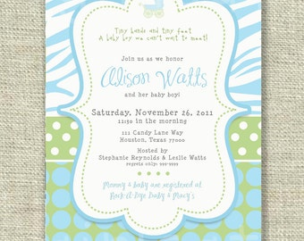 Baby Boy Shower Invitation Animal Print Blue Green Dots Digital Printable by girlsatplay girls at play