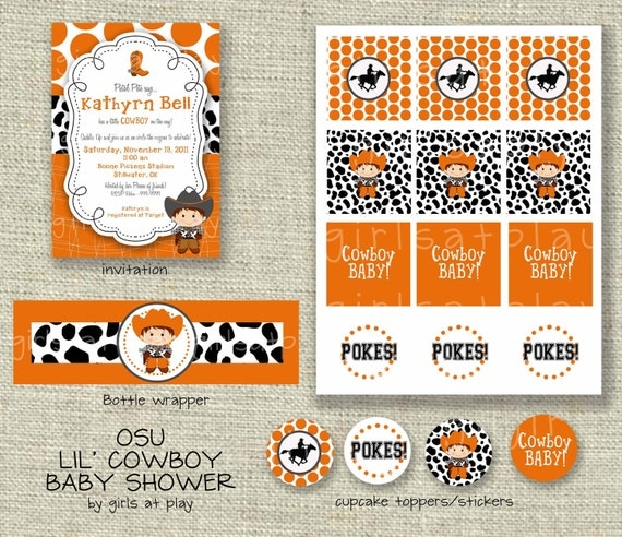 Baby Shower Cowboy Oklahoma Dallas Party Package -  Printable - by girlsatplay