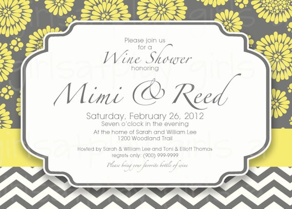 Modern Bridal Wine Shower Invitation Maize yellow Charcoal gray Chevron -Printable by girlsatplay girls at play