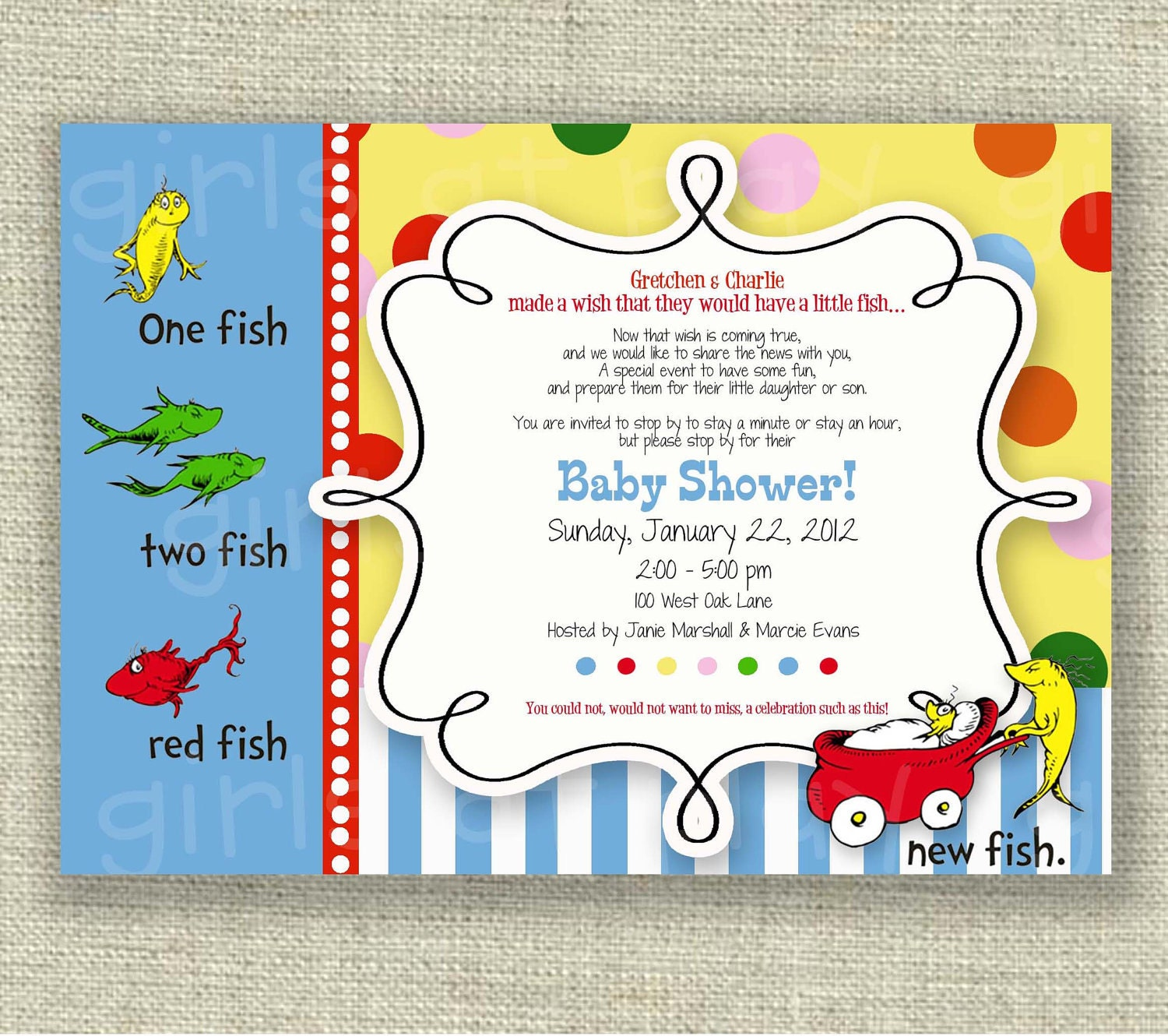 Dr seuss baby shower invitation one fish two fish boy or girl for One fish two fish printable