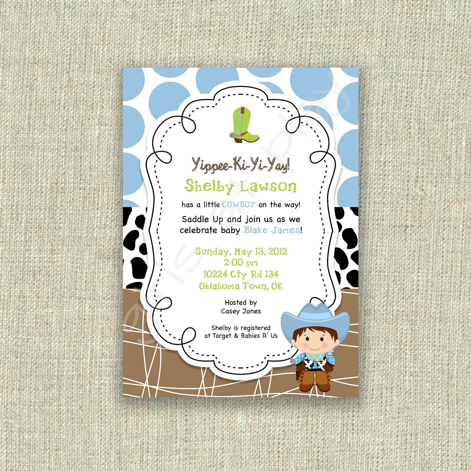 items similar to baby shower cowboy invitation invite western birthday