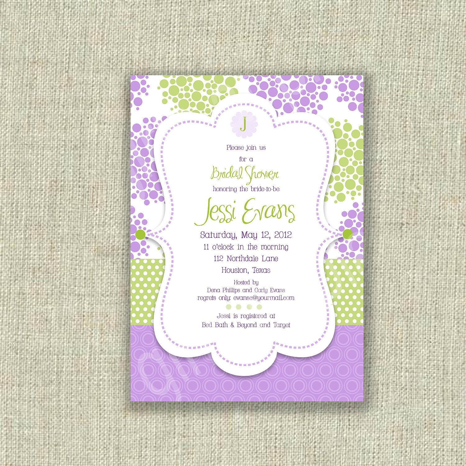 Modern Baby Shower Invitations: Lilac Bridal Shower Invitation Invite Baby Shower By