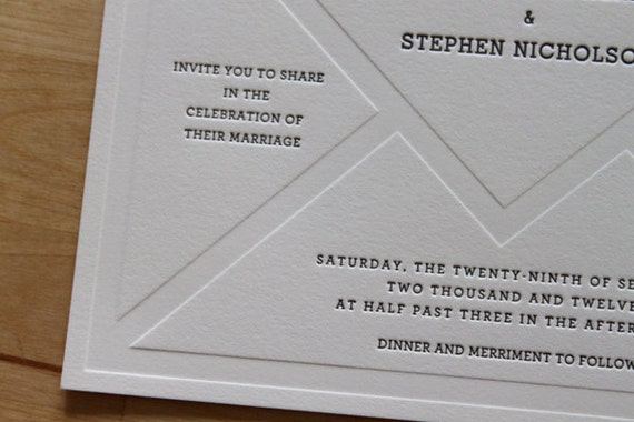 Letterpress Wedding Invitation - Vintage Stationery (Sample Set)