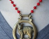 Vintage horse brass necklace