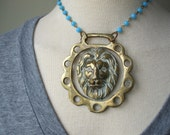 Leo the lion brass necklace