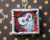 Interactive Game Necklace, A Hoot Soldered Art Pendant, Vintage Owl, Movable