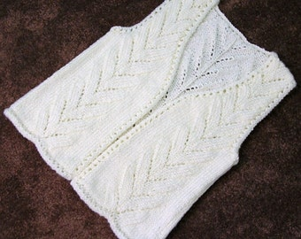 Girls Sleeveless Sweater Vest, Handknitted Vest Long No Button, Cream Off-White, Medium, Buttonless