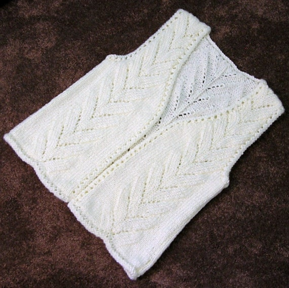 Girls Vest, Handknitted Sleeveless Sweater Vest Long, Cream Off-White, Medium, Buttonless