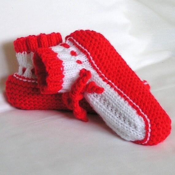 Slippersocks, Womens Red and White Grandma Style, Handknitted, 7  -  8