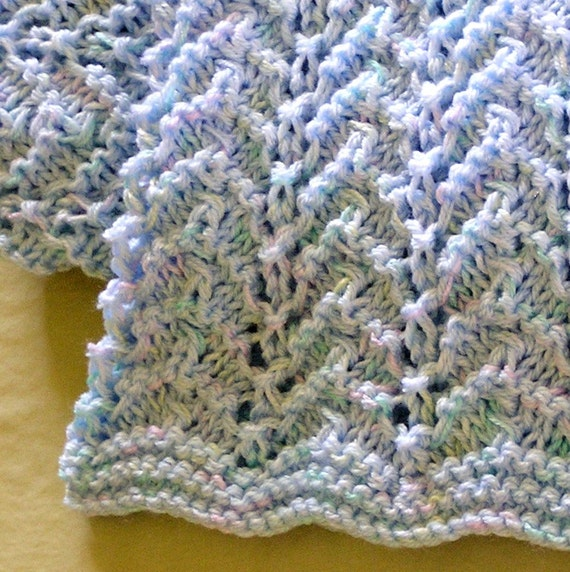 Pdf Pattern For Hand Knitted Baby Afghan Chevron By