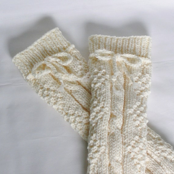 Womens Legwarmers Knitted in Vanilla Cream, Ladies Small to Medium.