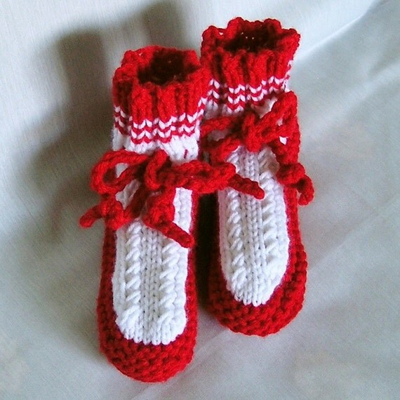 Slippers, Childs Knitted Grandma Style, Red and White, Size 11 - 12