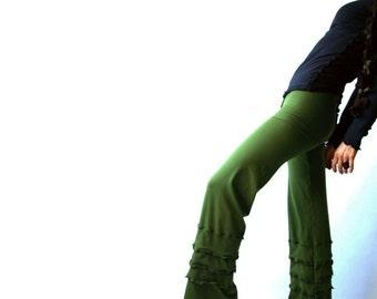RUFFLED PANTS boho chic womens bottoms  yoga pants  best selling  trending items  bottoms  women's pants  handmade clothing  maternity pants