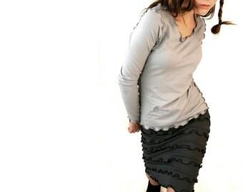 LONG SLEEVE women shirt| grey top| women top| best selling| grey shirt| handmade| custom| ruffled top| treehouse28