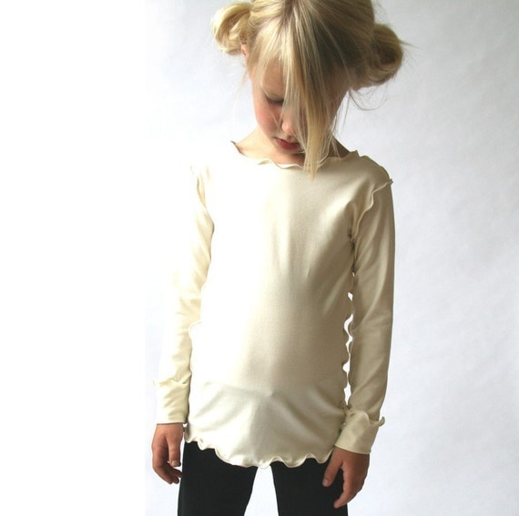 CHILDREN'S LONG SLEEVE clothing, girls, shirt, tops, hand made, unique, ruffled hem, more colors available, stretchy, quality fabric