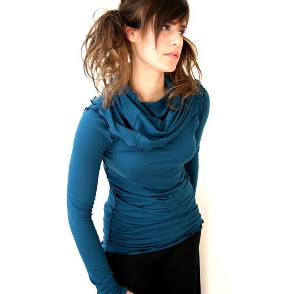 LONGSLEEVE COWL SHIRT womens blouse trending item| best selling| custom clothes| long sleeve shirt| cowl top| cowl shirt| teal shirt