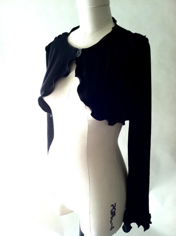 BUTTON BOLEROwomen top,boho coat, jacket,cropped jacket,crop coat,long sleeve top,handmade clothes,unique design,black cropped coat