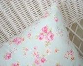 retro pink roses on soft aqua pillow sham 16x16 pillow cover pillow slip