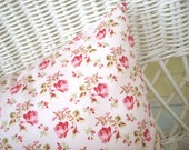 shabby chic durham style roses on pink pillow sham 16x16 pillow cover pillow slip