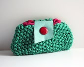 Knitted clutch purse jade green cotton blue leather pink vintage button magenta linen bag memake handmade