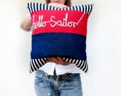 Nautical cushion hello sailor ribbon lettering typography word pillow cover red white navy blue stripes memake handmade home decor
