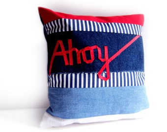 Ahoy word pillow nautical cushion red white navy blue ribbon lettering embroidery typography stripes cover memake handmade home decor