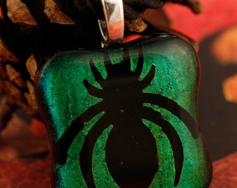 Dichroic Fused Glass Creepy Spider Pendant No. 22687