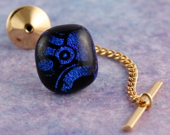 Fused Glass Dichroic Tie Tack No. 4014