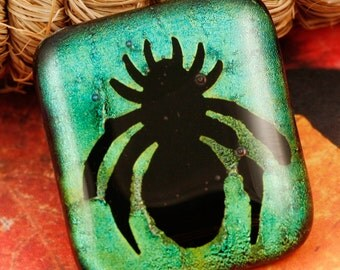 Fused Glass Creepy Spider Pin No. 22930