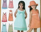Simplicity 3859 Little Girl's Dress and Hat Sewing Pattern Size 3-4-5-6-7-8
