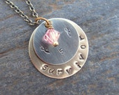 Metal Stamped 5 Year Survivor Necklace with Pink Swarovski Crystal