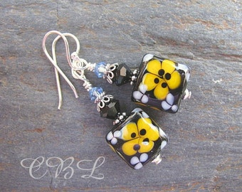 Black, Yellow, Light Blue Lampwork Glass, Crystal , Sterling Silver Earrings