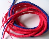 Pink and blue felty dreads - long