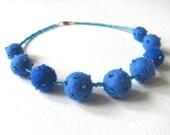 Felt bead necklace - blue