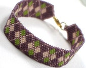 Bracelet Peyote Stitch Beaded Cuff Beadwoven Delica Seed Bead Seed Beaded Argyle - Purple, Green, Peach