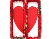 HEARTBREAKER   Set of two split heart  textile art Baskets   tray style