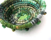RAINBOWS END   Textile Art  BASKET Bowl in greens and gold