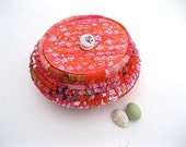 EASTER EGG  textile art BASKET storage tub with hand painted Lid  Number Four