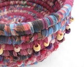MIXED BERRIES beaded textile art BASKET bowl