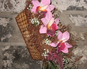 ORCHID TRiO hanging floral BASKET for wall or room decor  FREE GiFT corsage
